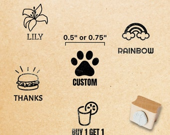 """0.5"""" or 0.75"""" Small Craft Stamp // Little Custom Rubber Stamp, No Handle /  Tiny Logo Stamps, Mini Loyalty Card Wood Stamps"""