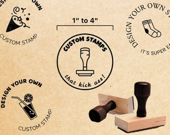 Traditional Rubber Stamp // 1 to 4 inches - Classic wood handle hand stamp - Ink pad not included - Most affordable way to stamp