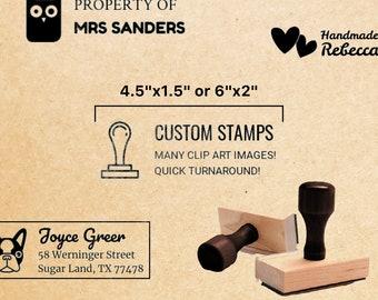 """4.5""""x1.5"""" or 6""""x2"""" Large Rectangular Wood Stamp // Custom rectangular logo stamp, Shopping bag branding stamp, Return address stamp"""