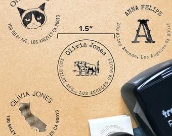 "Custom Clip Art Return Address Stamps // 1.5"" Self-Inking or Wood Stamp / Circular Address Stamps, Monogram Address Stamp, New Home Gift"