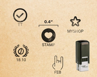 """0.4"""" Mini Self Inking Stamp // Trodat Printy Stamps / Small Loyalty Card Stamps, Small Hand Stamps, Custom Mini Rubber Stamp Design"""