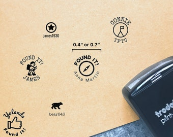 """Geocaching Stamp / 0.4"""" or 0.7"""" Small Geocache Stamp For Signing Log / Trodat Printy Self Inking Stamp / TFTC Rubber Stamp"""