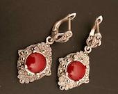 Silver Earrings- Dangle Earrings- silber ohrring - Ruby gemstone Earrings- 925 Silver Earrings - Frauen Schmuck