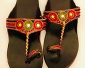 Leather slippers sandal women Footwear -Hand Embroidery Leather Traditional Indian shoes