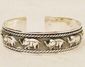 Silver cuff bracelet, Stirling Silber Geschenk für Mann Herren Silber Armband Elephant Armband