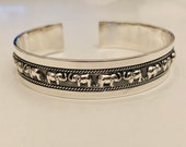 Silver cuff bracelet, Stirling Silber Geschenk für Man/woman Herren/Frauen Silber Armband Elephant Armband