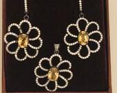 Silver Earrings- Earrings and Pendent set- 925 sterling Silver pendent - Cytrine gemstone Earrings set - Silver Earrings