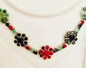 Silver Necklace- Wedding Necklace- 925 sterling Silver Necklace- Ruby & Emerald Necklace