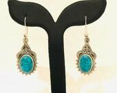 Silver Earrings- Wedding Dangle Earrings- 925 sterling Silver Earrings - Tortoise stone Earrings Silber Ohrrings