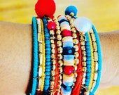 Women bracelet, Colourful wide Armreif, Colourful small beads bracelet