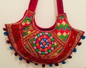 Indian Hand stitched/handmade Shoulder Bag, Embriodered Bag For Women, Boho Beach Bag, Indian Ethnic Bag