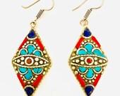 German silver earrings hoop- Turquoise Earrings - Elegant Handmade Earrings for Women- Boho Chic Earrings