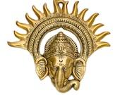 Ganesha Wall Art- Elegant Finished Metal Brass God Ganesha Wall Hanging - Indian God Ganesha Wall Hanging