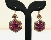 Silver Earrings- Wedding Dangle Earrings- 925 sterling Silver Earrings - Ruby gemstone Earrings Silber Ohrring
