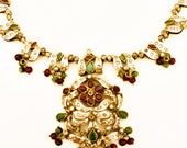 Victorian Jewelry Compiled with Natural stones and 925 Silver.-  Gemstone victorian Necklace - Silber Schmuck