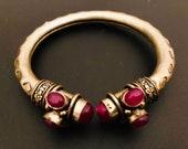925 sterling silver handmade fabulous Ruby bangle bracelet - Unisex Bangle design antique style bracelet kada