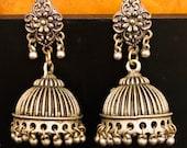 Silver earrings jhumka- Oxydized silver earrings- Vintage design earrings -Handmade Earrings - Elegant Jhumka for Women
