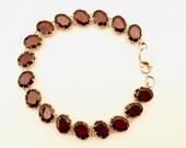 Silber armband, Women Silver Bracelet, , Garnets Tennis Armband, Geschenk für Sie