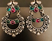 Silver Earrings- Stone Studded Earrings - Silver Oxidised Hoops -Oxydized Silver and Gemstone Earrings - Silber ohrring