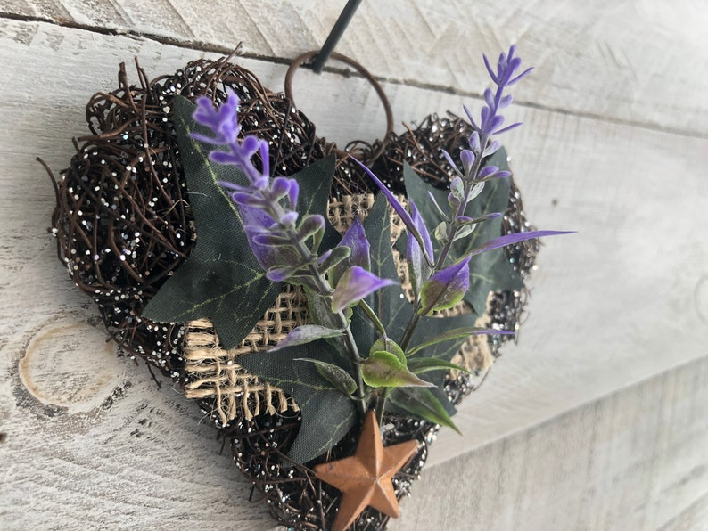 Glittered Grapevine Heart Accent with Lavender and Ivy Leaves.Ornament Wall Decor.Rustic Gifts.Primitive Decor