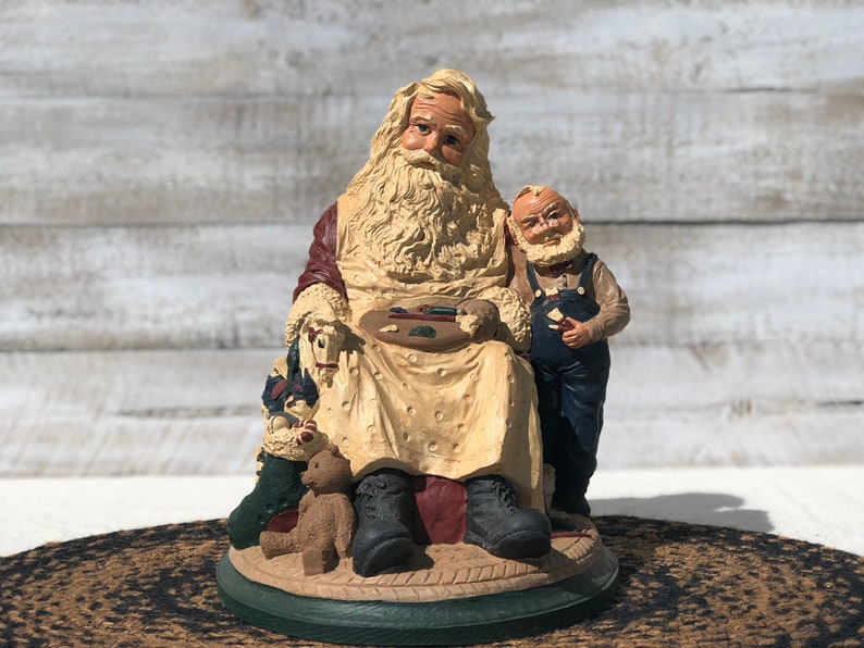 Hand Painted Pecan Resin Workshop Santa with Helper Christmas Figurine