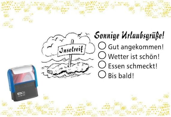 Motivstempel: Sonnige Urlaubsgrüße - Automatikstempel für unterwegs für  Postkarten Urlaub Ferien Urlaubsgrüße Grüße Gruß für Freunde Familie