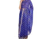 Rajasthani jaipur print blue leheriya Saree Plain new fancy saree womens saree chiffon saree