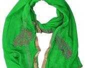 Chiffon Giltter Print dupatta Beautiful Plain Soft Chiffon Dupatta Border Chunni With Flower Embroidery Lace in green color