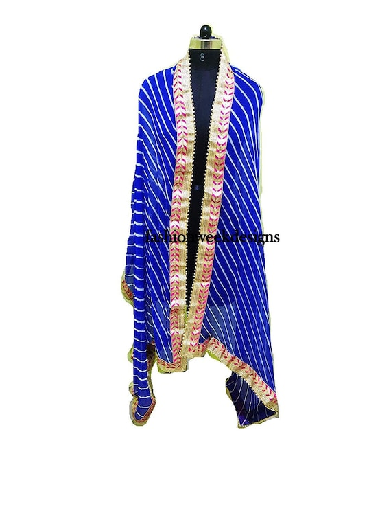 Indian dupatta Leheriya with Gota Patti Border Bandhani Soft chiffon Dupatta blue color rajsthani bridal topper dupatta