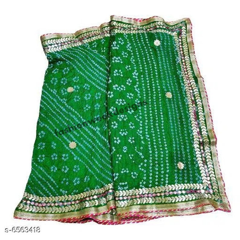 Indian Rajasthani  jaipuri bandhej bandhani Traditional Saree with Gotapetti Border with blouse bridal wedding women saree