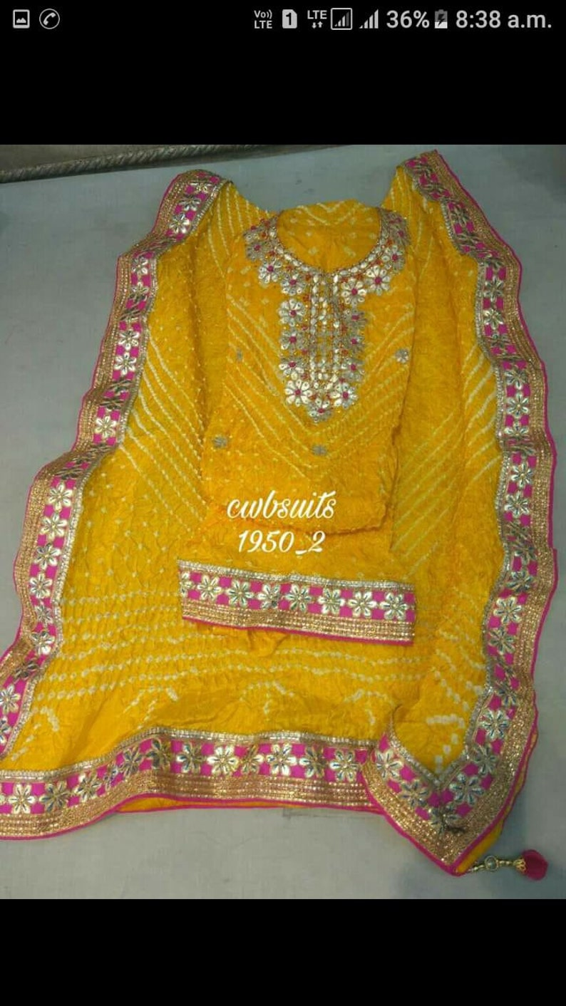 yellow color Bandhani women salwar suits designer salwar kameez party wear Indian dress Bandhej silk suit with gotta work Indian suit dress