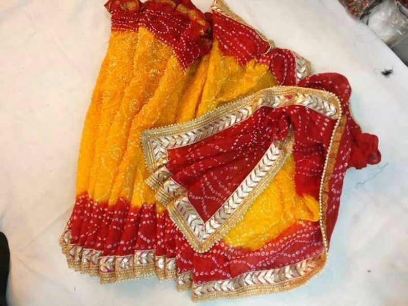 89801fb24f Handmade Indian Silk Bandhej Saree Rajasthani Bandhani Saree | Etsy