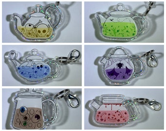 Spooky Teapots Holographic Acrylic Charms