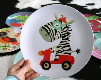 Melamine plate ' zebra rides scooter '