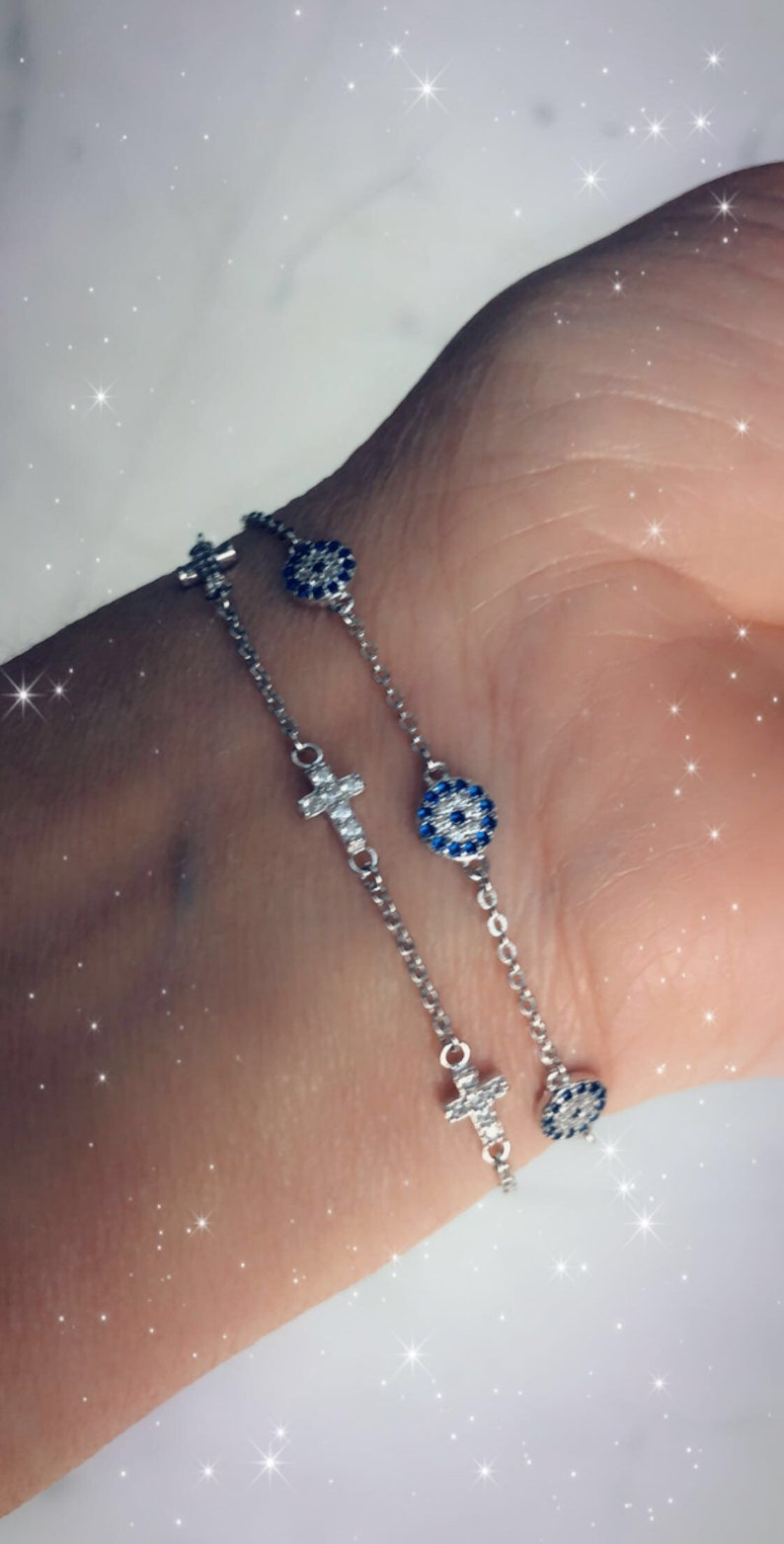 Mini evil eye disc bracelet