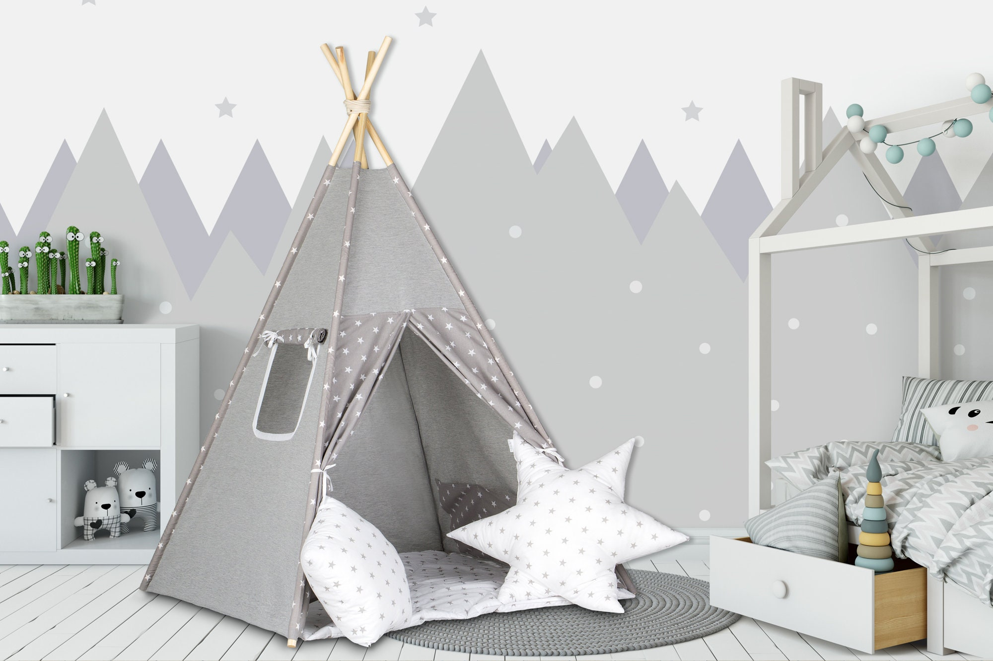 tipi zelt set etsy. Black Bedroom Furniture Sets. Home Design Ideas