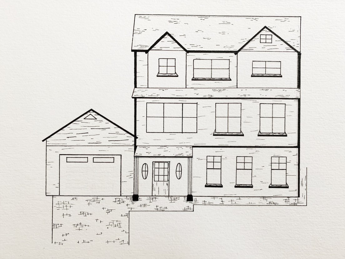 Custom house drawing ink home portrait