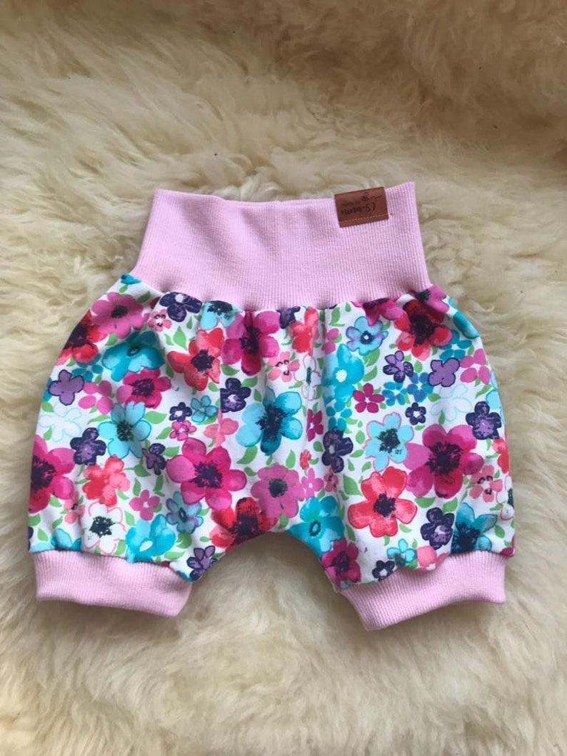 Pants short baby pants summer pink colorful flowers