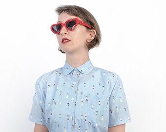 High collar blouse - All over print shirt - Alternative clothing