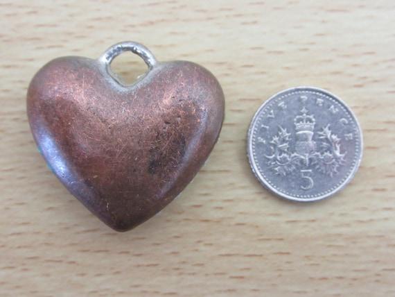 Many Round Cut Diamante Vintage Heavy Heart Shaped Pendant Silvertone and Bronzetone Metal