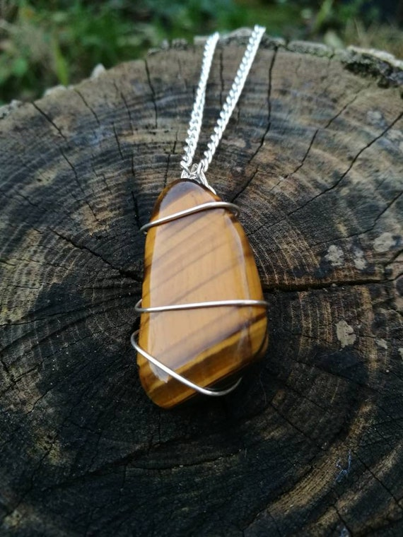 Wire Wrapped Crystal Necklace Tigers Eye