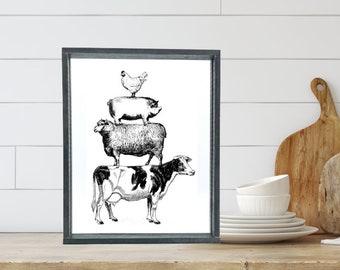 Vintage Farm Animals Stacked; Kitchen; Farmhouse; Cow; Chicken Pig