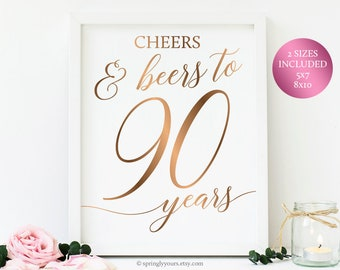 Cheers And Beers To 90 Years 90th Birthday For Men Beer Party Decorations Sign Printables Year Old Gold