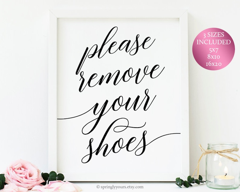 photo regarding Please Remove Your Shoes Sign Printable called Make sure you Eliminate Your Footwear Indication Printable Be sure to Clear away Your Footwear Remember to Choose Off Your Sneakers No Sneakers Signal Entryway Decor Down load Printable