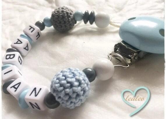 Geburt Schnullerkette mit Name -Wunschname Baby Taufe von lealeo Geschenk