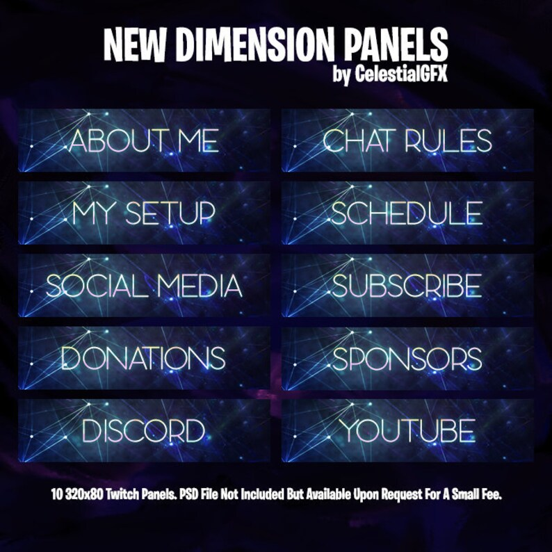 New Dimension Twitch or Mixer Panels (Pack of 10)