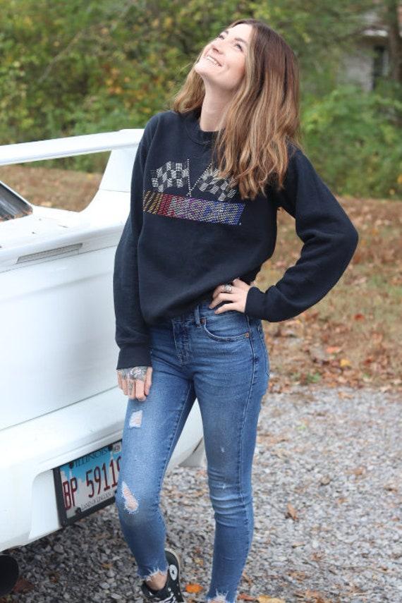 NASCAR Rhinestone Sweatshirt Vintage 1990's Authen
