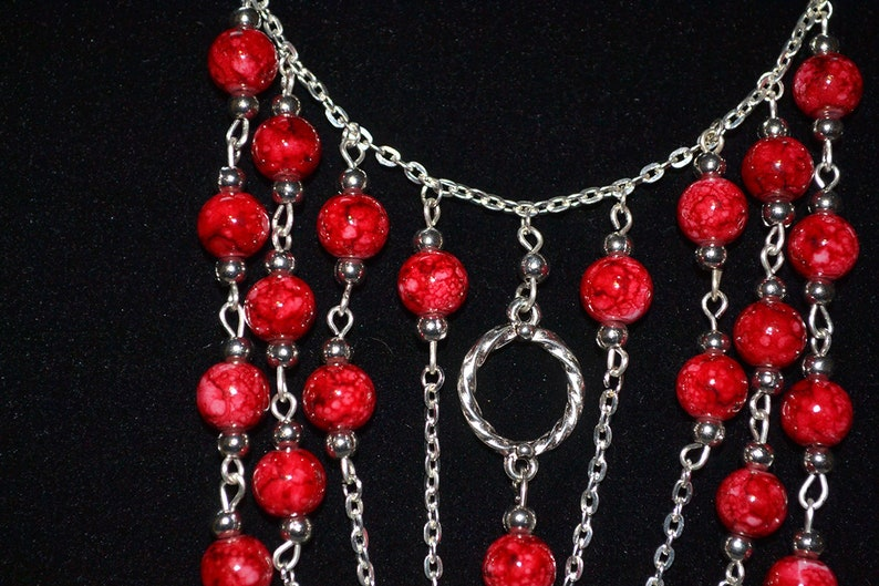 romantic red Marble glass beads necklace