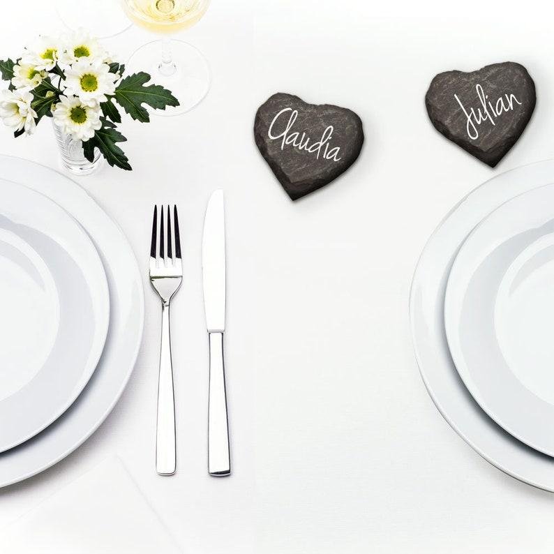 Schieferherzen Tischkarten Hochzeit
