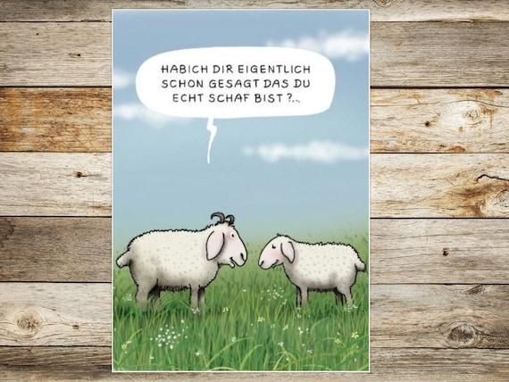 Schaf Grußkarte schönes Porträt Klappkarte sheep